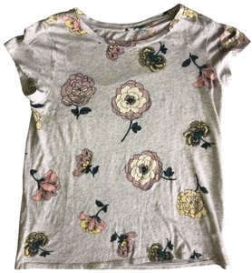 Ann Taylor LOFT Button Down Shirt Gray with Flowers