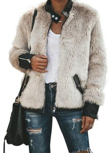 FATE Faux Fur Off White/Black Leather Jacket