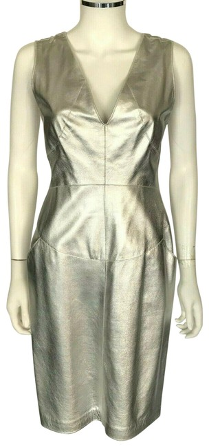 Item - Metallic Silver Lamb Leather V Neck Sleeveless 36 Us Short Night Out Dress Size 4 (S)