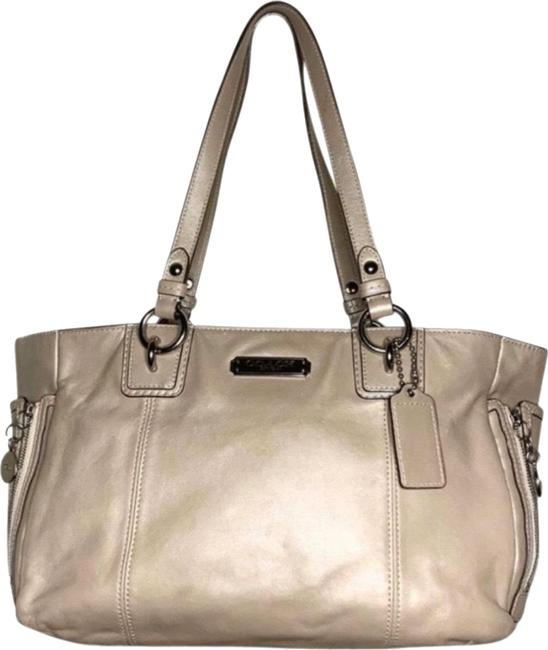 Item - Gallery Zipper Grey Leather Tote