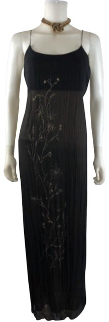 Item - Black Vintage Embroidered Floral Overlay Crepe Silk Gown Maxi — Perfect Party / Wedding Guest Long Cocktail Dress Size 12 (L)