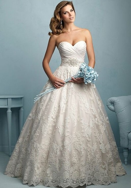 Item - Champagne/ Ivory/ Silver Satin and Lace 9202 Sexy Wedding Dress Size 18 (XL, Plus 0x)