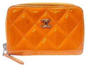 Chanel Chanel Diamond Quilted CC Mongram Zippy Card Wallet Shine Patent Leath