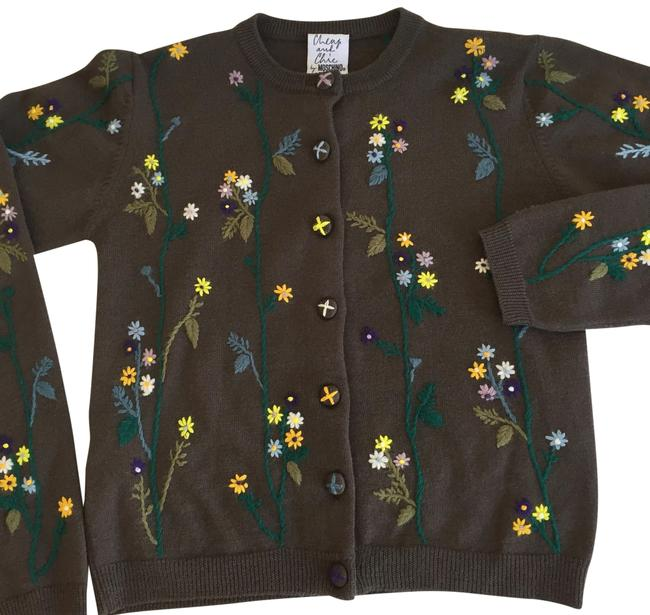 Item - Floral Embroidered Cardigan Multi Color Sweater
