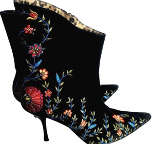 Beverly Feldman Embroidered Leather Sole Boho black Boots