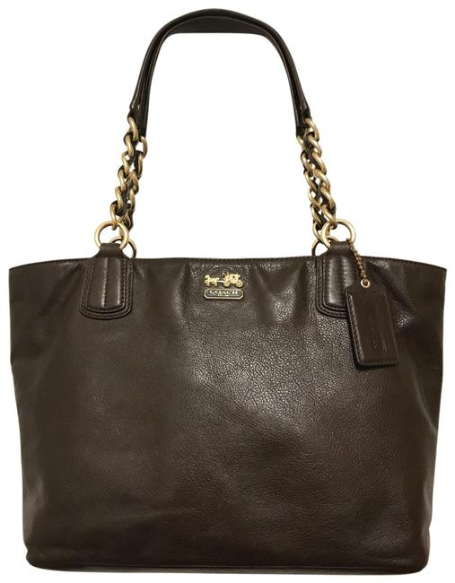 Item - Madison East/West Chain 20466 Brown Gold Leather Tote