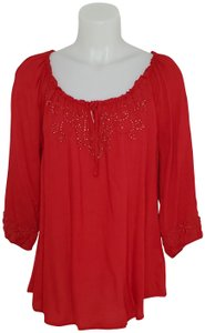 One World Boho Embellished Embroidered Keyhole Top Red
