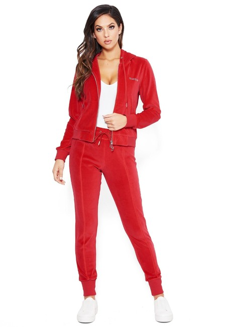 Bebe Red 2 Piece Outfit Velour Hoodie Pants Logo Stretch Pockets Romper Jumpsuit Tradesy