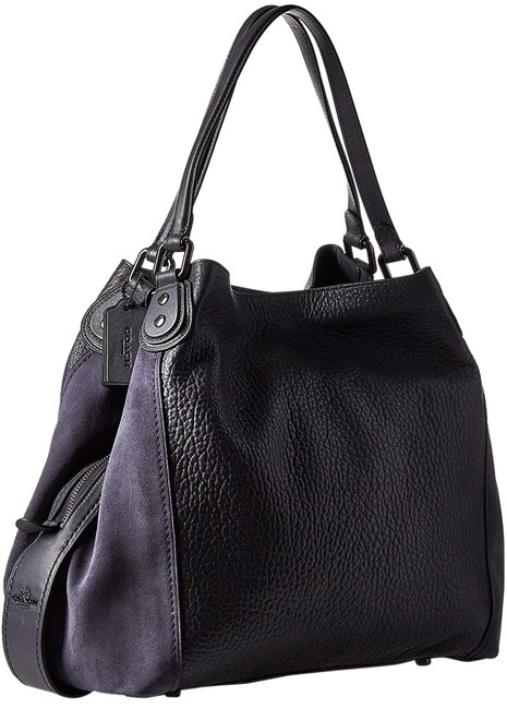Item - Edie 42 Midnight Navy Leather and Suede Shoulder Bag