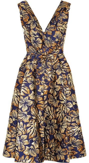 Item - Blue and Gold Floral-jacquard Midi Mid-length Cocktail Dress Size 10 (M)