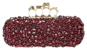 Alexander McQueen Crystal Embellished Leather Red Clutch