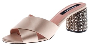 Rochas Satin Crystal Embellished Beige Sandals