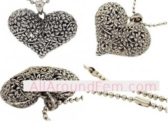 All Around Fem Vintage Style Heart Necklace Burnish Silver Classi