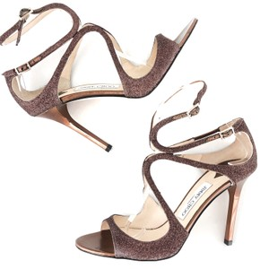 Jimmy Choo Metallic Cocktail Prom Wedding Glitter Bronze Formal