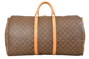 Louis Vuitton Duffle Gym Keepall Suitcase Bandouliere Brown Travel Bag