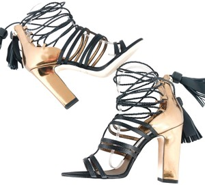 Jimmy Choo Tassels Wraps Cocktail Party Wedding Black / Honey Gold Sandals