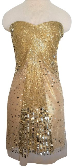 Item - Gold Beaded Sequins Gown with Tulle Overlay. Mid-length Formal Dress Size 4 (S)