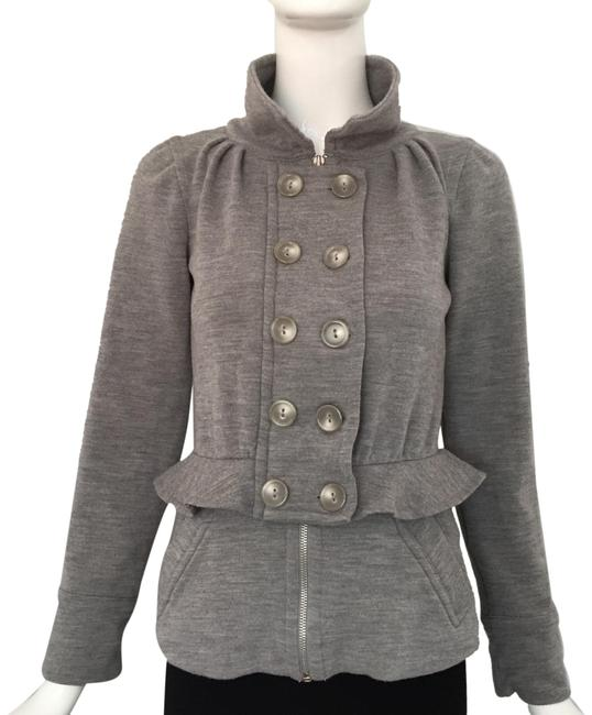 Item - Gray Ruffle Trim Double Breasted Jacket Size 2 (XS)