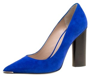 Barbara Bui Suede Pointed Toe Leather Blue Pumps
