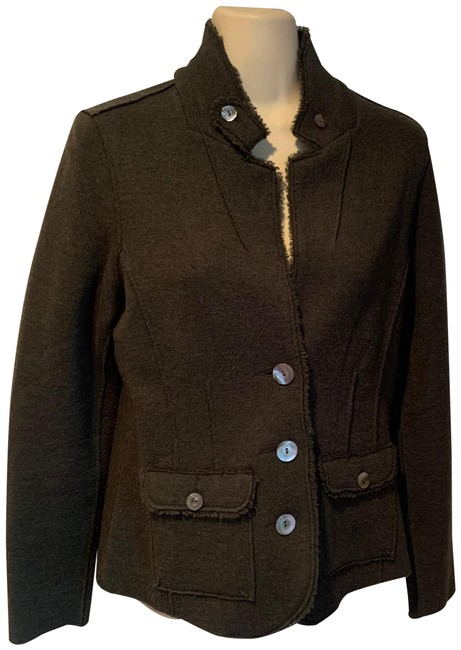 Item - Olive Green Wool Knit Jacket Size Petite 8 (M)