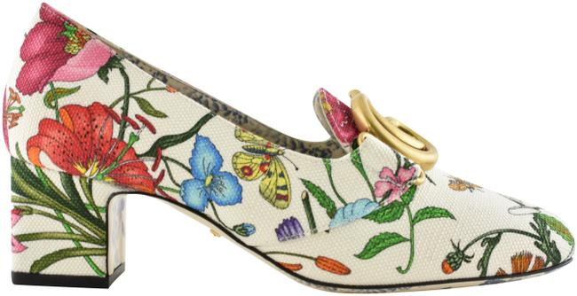 Item - White Victoire 55 Canvas Floral Gg Logo Block Mid Heel Mule Loafer Pumps Size EU 36 (Approx. US 6) Regular (M, B)