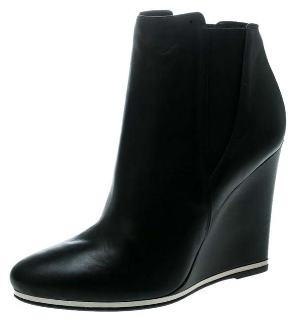 Le Silla Black Leather Wedge Ankle Boots/Booties Size US 9 Regular (M, B) Le Silla Black Leather Wedge Ankle Boots/Booties Size US 9 Regular (M, B) Image 1