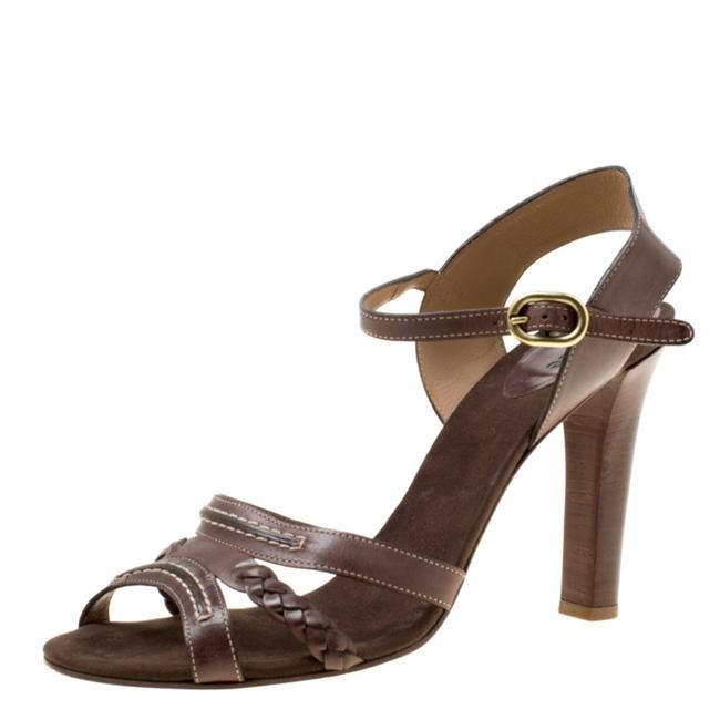 Chloé Brown Leather Braid Detail Ankle Strap Sandals Size US 10 Regular (M, B) Chloé Brown Leather Braid Detail Ankle Strap Sandals Size US 10 Regular (M, B) Image 1