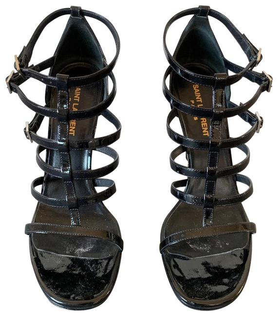 Saint Laurent Black Patent Multi Stripe Sandal Formal Shoes Size EU 38 (Approx. US 8) Regular (M, B) Saint Laurent Black Patent Multi Stripe Sandal Formal Shoes Size EU 38 (Approx. US 8) Regular (M, B) Image 1