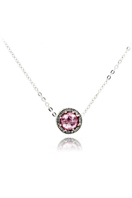 Ocean Fashion Pink Heart Crystal Necklace Ocean Fashion Pink Heart Crystal Necklace Image 1