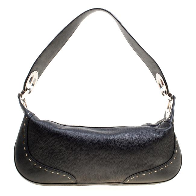Escada Eluna Black Leather Shoulder Bag Escada Eluna Black Leather Shoulder Bag Image 1
