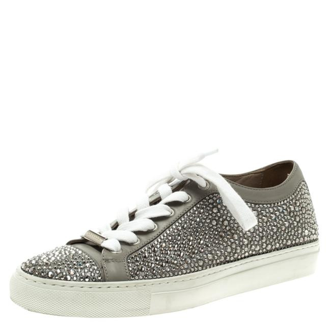 Le Silla Grey Crystal Embellished Leather Lace Up 36 Sneakers Size US 5.5 Regular (M, B) Le Silla Grey Crystal Embellished Leather Lace Up 36 Sneakers Size US 5.5 Regular (M, B) Image 1