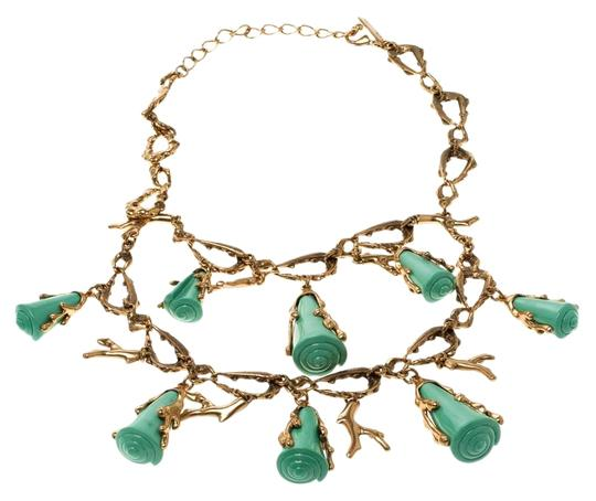 Preload https://img-static.tradesy.com/item/27001871/oscar-de-la-renta-gold-turquoise-resin-shell-and-tone-coral-two-tier-necklace-0-1-540-540.jpg