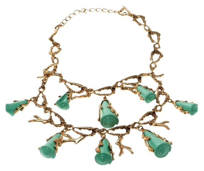 Oscar de la Renta Gold Turquoise Resin Shell & Tone Coral Two-tier Necklace Oscar de la Renta Gold Turquoise Resin Shell & Tone Coral Two-tier Necklace Image 1