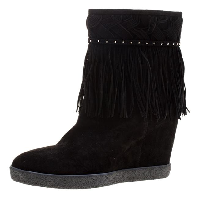 Le Silla Black Suede Concealed Fringed Wedge 37.5 Boots/Booties Size US 7 Regular (M, B) Le Silla Black Suede Concealed Fringed Wedge 37.5 Boots/Booties Size US 7 Regular (M, B) Image 1