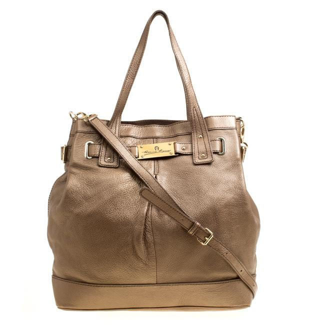 Etienne Aigner Metallic Pebbled Logo Brown Leather Tote Etienne Aigner Metallic Pebbled Logo Brown Leather Tote Image 1