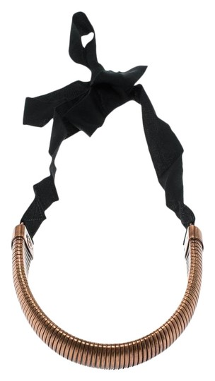 Preload https://img-static.tradesy.com/item/27001894/lanvin-metallic-bronze-tone-tube-black-ribbon-tie-up-necklace-0-1-540-540.jpg