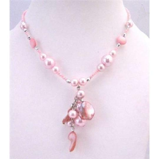 Pink Sexy Shell Choker Cultured Pearls W/ Shell Dangling Necklace