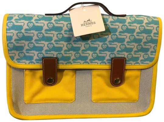 Preload https://img-static.tradesy.com/item/27001911/hermes-animaux-pixel-printed-canvas-limited-edition-and-textile-turquoise-yellow-white-58-cotton42-l-0-1-540-540.jpg