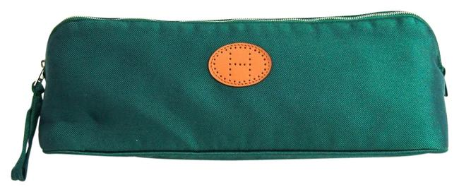 Hermès Verza Unisex Pouch Brown / Green Cotton / Silk Clutch Hermès Verza Unisex Pouch Brown / Green Cotton / Silk Clutch Image 1