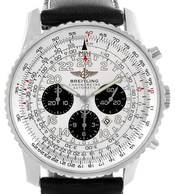 Breitling Silvered Navitimer Cosmonaute Black Strap Steel Mens A22322 Watch Breitling Silvered Navitimer Cosmonaute Black Strap Steel Mens A22322 Watch Image 1