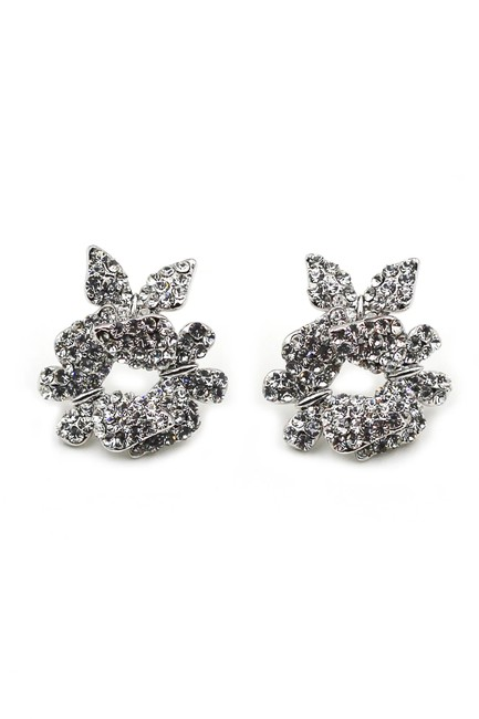 Ocean Fashion Silver Butterfly Crystal Earrings Ocean Fashion Silver Butterfly Crystal Earrings Image 1