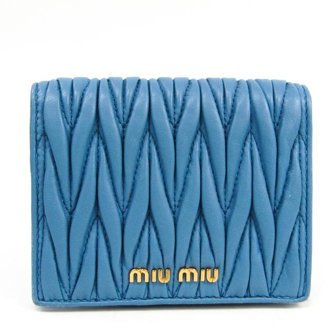 Item - Blue Matelasse 5mv204 Women's Sheepskin (Bi-fold) Wallet