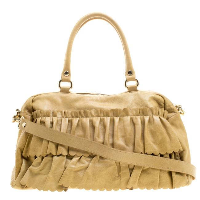 RED Valentino Ruffle Yellow Leather Shoulder Bag RED Valentino Ruffle Yellow Leather Shoulder Bag Image 1