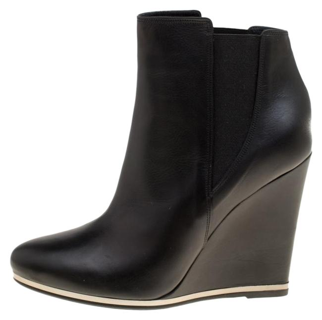 Le Silla Black Leather Wedge Heel Ankle Boots/Booties Size US 8.5 Regular (M, B) Le Silla Black Leather Wedge Heel Ankle Boots/Booties Size US 8.5 Regular (M, B) Image 1