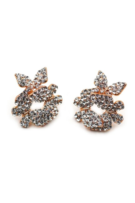 Ocean Fashion Rose Gold Butterfly Crystal Earrings Ocean Fashion Rose Gold Butterfly Crystal Earrings Image 1