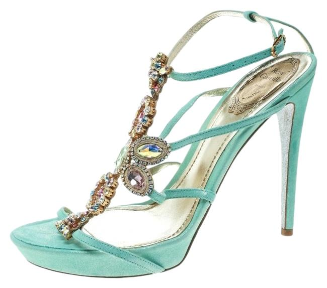 Rene Caovilla Blue Suede Crystal Embellished Strappy Sandals Size US 9 Narrow (Aa, N) Rene Caovilla Blue Suede Crystal Embellished Strappy Sandals Size US 9 Narrow (Aa, N) Image 1