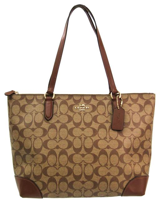 Coach Bag Signature Zip Top F29208 Women's Khaki Brown Pvc / Leather Tote Coach Bag Signature Zip Top F29208 Women's Khaki Brown Pvc / Leather Tote Image 1