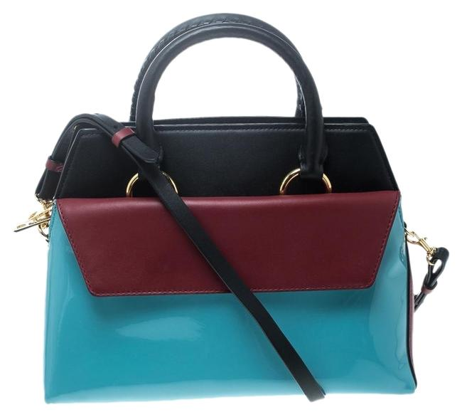Diane von Furstenberg Small Front Flap Satchel Multicolor Leather and Patent Leather Shoulder Bag Diane von Furstenberg Small Front Flap Satchel Multicolor Leather and Patent Leather Shoulder Bag Image 1