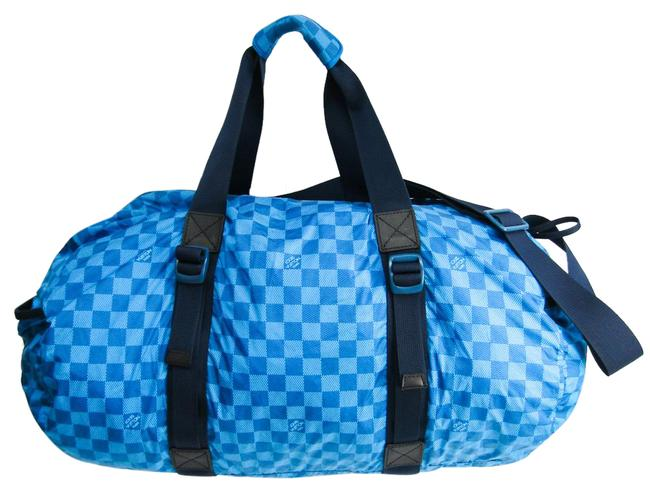 Louis Vuitton Boston Bag Damier Aventure Practical M97057 Men's Blue Nylon Satchel Louis Vuitton Boston Bag Damier Aventure Practical M97057 Men's Blue Nylon Satchel Image 1