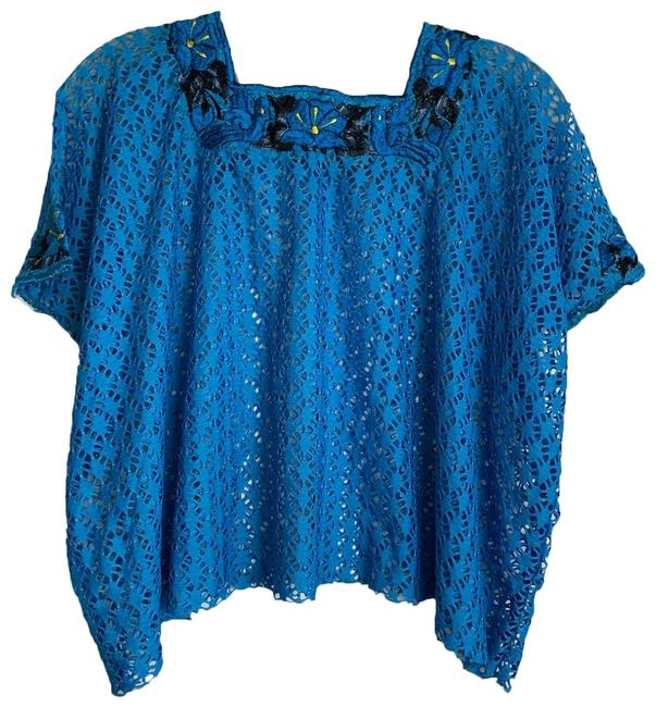 Lexico Fashion Blue L M/L Light Mesh Net Embroider Daisy Crop Blouse Size 12 (L) Lexico Fashion Blue L M/L Light Mesh Net Embroider Daisy Crop Blouse Size 12 (L) Image 1